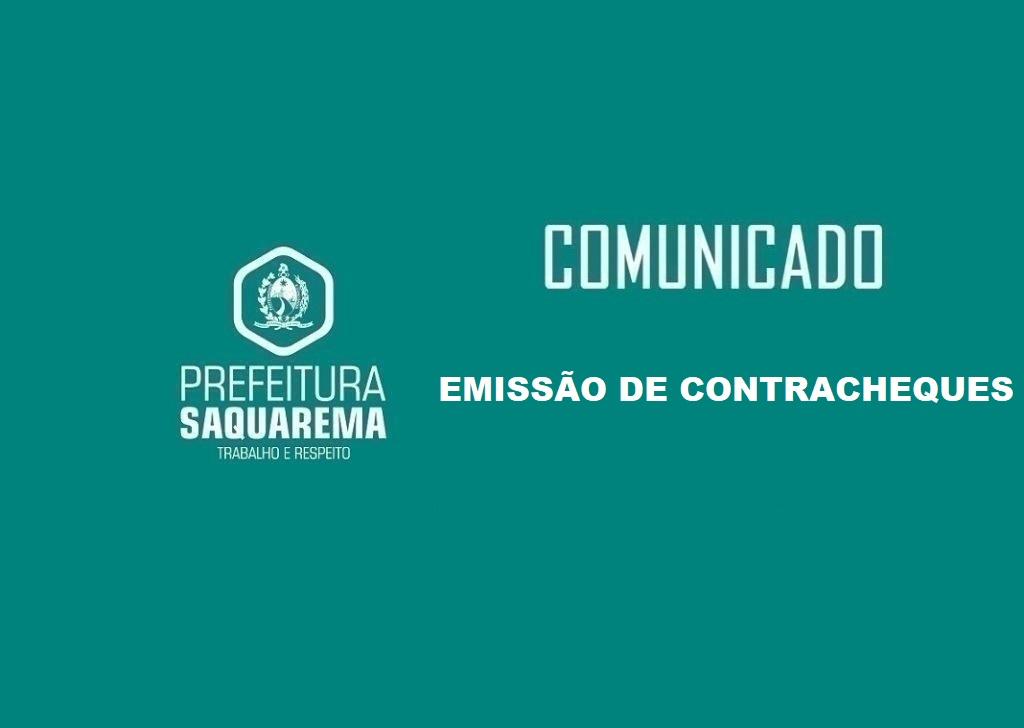 COMUNICADO: Emissão de Contracheques | Prefeitura de Saquarema